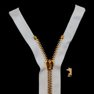 Mood Exclusive Italian Off-White and Gold T8 Open End Metal Zipper - 27.5