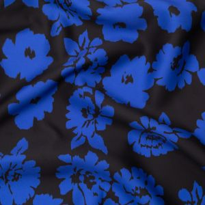 Milly Black and Blue Floral Polyester Mikado