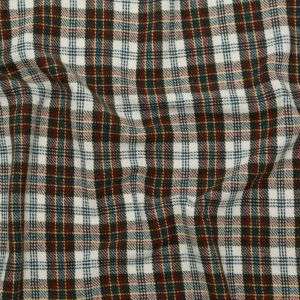 Italian Antique Gold, Forest, Teal and Oatmeal Plaid Wool Twill Coating