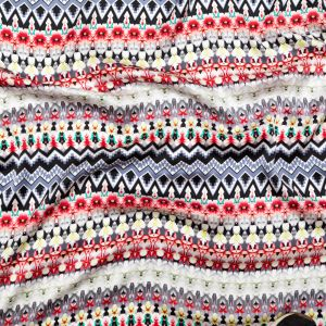 Chili Pepper, Warm Gray and Celery Striped Geometric and Floral Silk Charmeuse