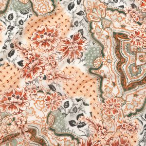 Orange and Hunter Green Silk and Cotton Voile