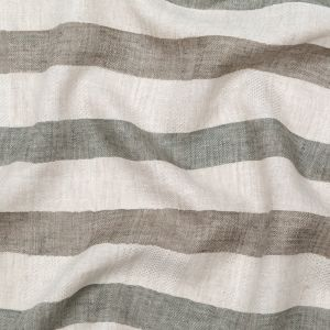 Taupe Gray and Olive Awning Striped Linen Dobby