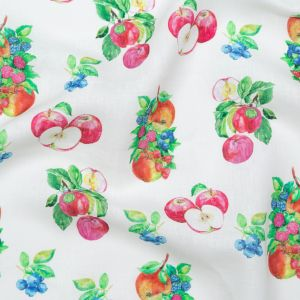 Blueberries and Apples Printed on an Ivory Linen Woven