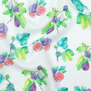 Figs Printed on an Ivory Linen Woven
