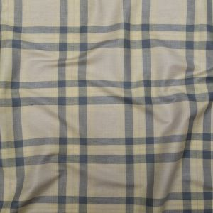 Folkstone Gray, Pure Cashmere and Yellow Plaid Linen Woven