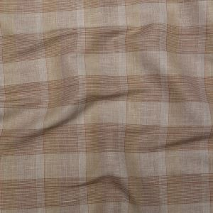 Beige, Raw Umber and Yellow Glen Plaid Linen and Cotton Woven