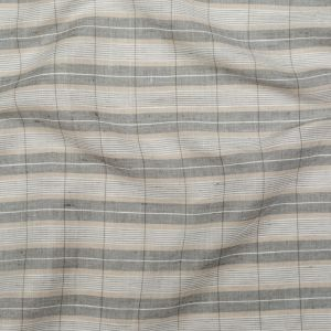 Beige, Gray and White Plaid Linen and Rayon Woven