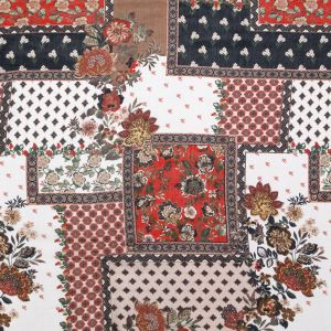 Italian Friar Brown, Chili Oil and Wren Patchwork Floral Rayon Crepe