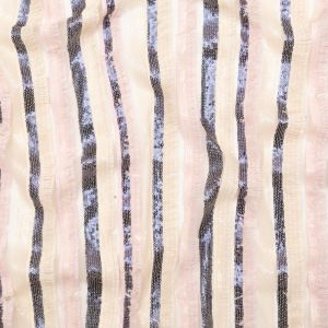 Italian Novelty Pale Beige and Pink Sequins and Fringe Striped Tulle