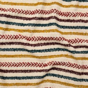 Italian Ivory, Maroon, Cumin and Teal Striped Blended Tweed