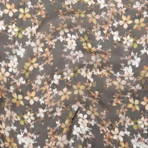 Italian Black, Pale Yellow and Pale Pink Floral Silk Chiffon