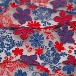 Famous NYC Designer Bijou Blue and Samba Red Floral Embroidered Tulle with Finished Edges