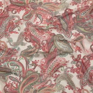 Italian Silver Green, Moon Mist and Vibrant Red Paisley Polyester Georgette