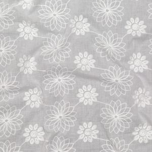 Off-White Floral Embroidered Cotton Voile