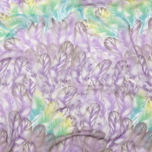 Spiced Plum and Stone Green Feathers Silk Chiffon