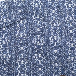 Sargasso Sea and Tempest Blue Python Printed Silk and Cotton Voile