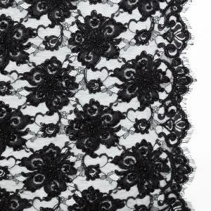 Black Narrow Beaded Floral Corded 3D Lace with Scalloped Eyelash Edges