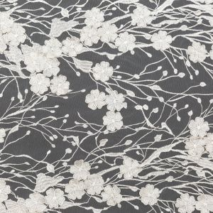 White 3D Floral Embroidered Lace