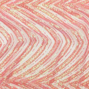 Coral and Green Iridescent Chevron Baby Sequins on White Tulle