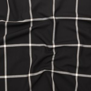 Italian Black and White Windowpane Check Stretch Wool Suiting