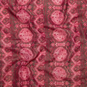Cardinal Red Damask Cotton Voile with Metallic Gold Stripes