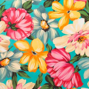 Milly Turquoise, Spicy Mustard and Pink Floral Cotton Faille