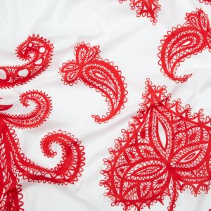 Milly Italian Red and White Large-Scale Paisley Stretch Cotton Poplin