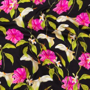 Milly Large Fuchsia, Green and Black Floral Satin-Faced Silk Georgette