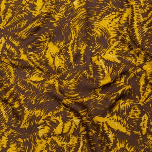 Milly Mustard and Brown Abstract Silk Twill
