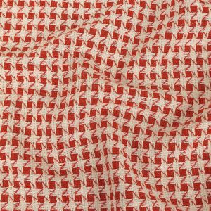 Off-White and Metallic Red Dog's Tooth Tweed