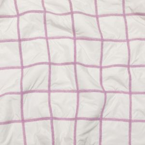 Smoke Grape Wool Knit and Off-White Polyester Windowpane Check Quilted Coating