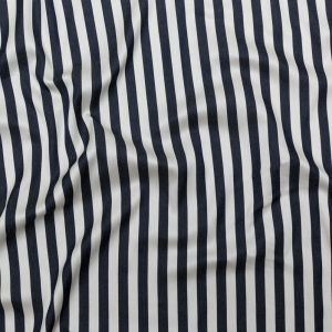 Phillip Lim Dark Navy and White Awning Striped Rayon and Cotton Twill