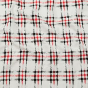 White, Black and Red Faded Plaid Blended Cotton Twill