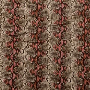 Italian Brown and Red Snakeskin Digitally Printed Viscose Jersey