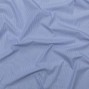 Sky Blue and White Pencil Striped Cotton Shirting