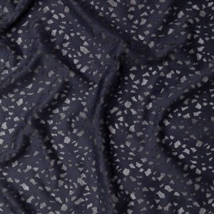 Navy Floral Lasercut Scuba Knit with Black Mesh Backing