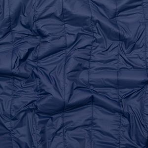 Navy Rectangular Ribs Quilted Coating with Sodalite Blue Knit Backing