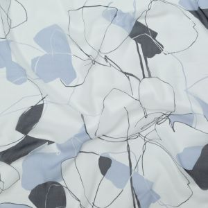 Blue and White Abstract Crinkled Silk Chiffon