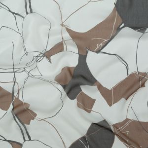 Brown and White Abstract Crinkled Silk Chiffon