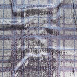 Italian Silver Circle Baby Sequins on Periwinkle, Lavender and White Plaid Mesh