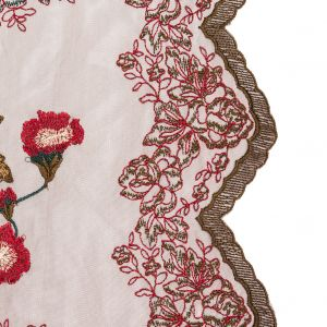 Italian Red, Gold and Green Metallic Floral Embroidery on Brown Tulle with Finished Edges