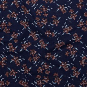 Medieval Blue and Burnt Brick Floral Textural Gauzy Organic Cotton Woven