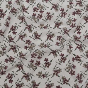 Bright White, Dusty Rose and Deep Lichen Green Floral Textural Gauzy Organic Cotton Woven