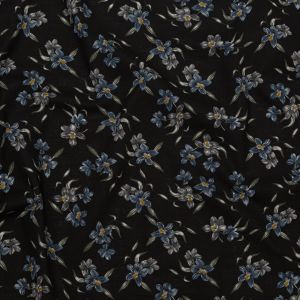 Licorice, Blue Mirage and Vetiver Floral Textural Gauzy Organic Cotton Woven