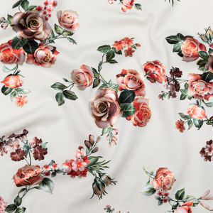 White Ponte Knit with Pastel Roses and Golden Outlines Foil Design