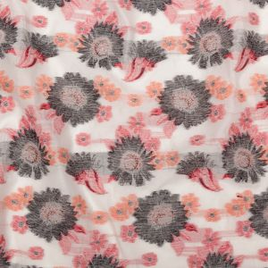 Famous NYC Designer Firecracker and Poinsettia Sunflowers Blended Cotton Brocade