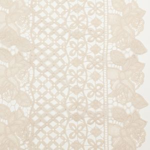 Famous NYC Designer Oyster Gray Floral Stripes Guipure Lace with Finished Edges