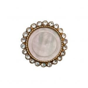 Italian Gold Metal, Crystal Rhinestones and Oatmeal Shell Shank Button - 36L/23mm