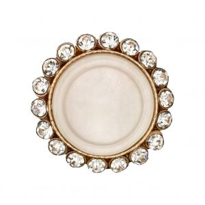 Italian Gold Metal, Crystal Rhinestones and Oatmeal Shell Shank Button - 40L/25.5mm