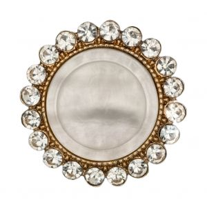 Italian Gold Metal, Crystal Rhinestones and Oatmeal Shell Shank Button - 48L/30.5mm